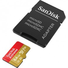 SanDisk 64GB Extreme UHS-I microSDXC Memory Card with SD Adapter