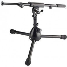 """K&M 25950 REIN Low Level Tripod Microphone Stand with Telescoping Boom - Height: 11"""" (280mm) (Black)"""