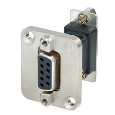 Neutrik 9-Pole D-Sub Feedthrough Female to Female Adapter with D-Shape Housing (Nickel)