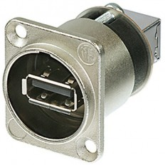 Neutrik Reversible USB A to USB B Gender Changer in D-Shape Housing (Nickel) female